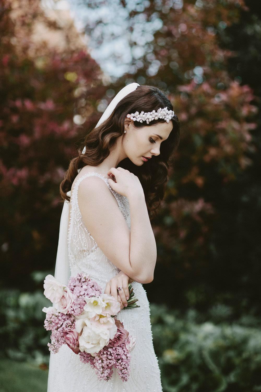 Bride Bridal Beaded Dress Gown Pearl Hairpiece Bouquet Pink White Blousy Flowers Floral Veil Glamorous Vintage Eggington House Wedding Ideas David Jenkins Photography