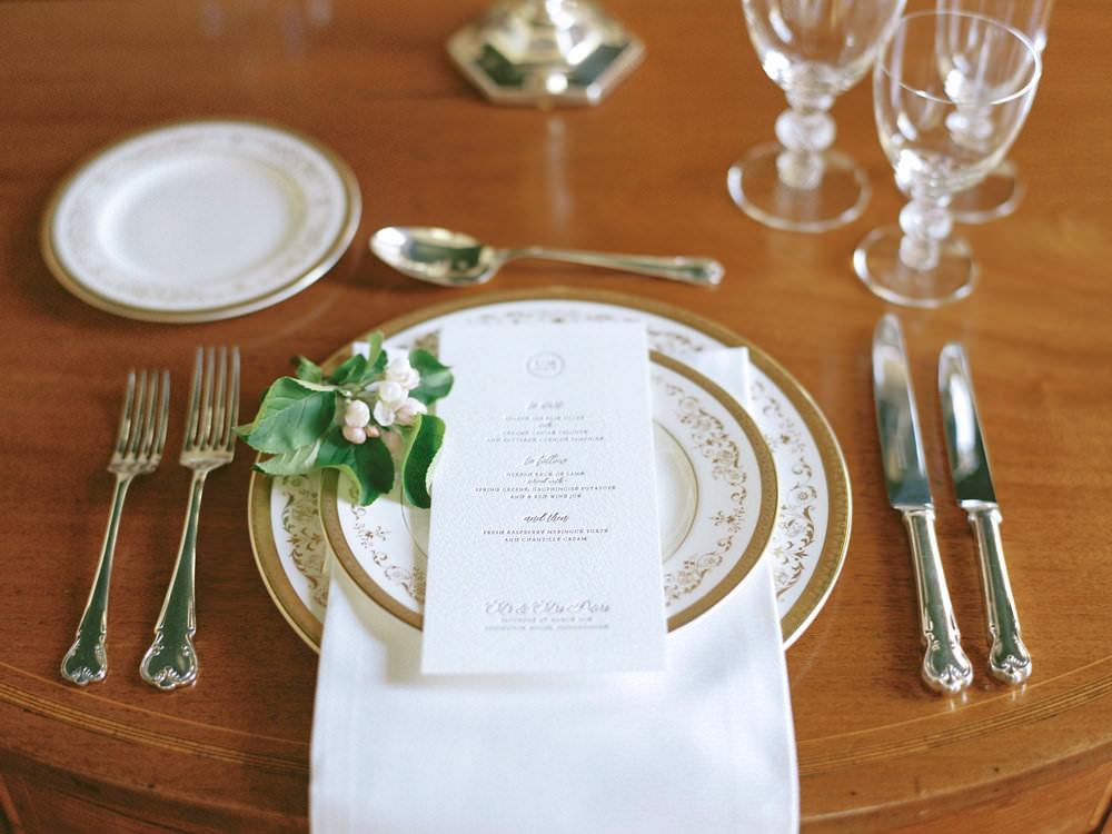 Classic Stationery Menu Embossed 1930s Tableware Gilt Crockery Glamorous Vintage Eggington House Wedding Ideas David Jenkins Photography