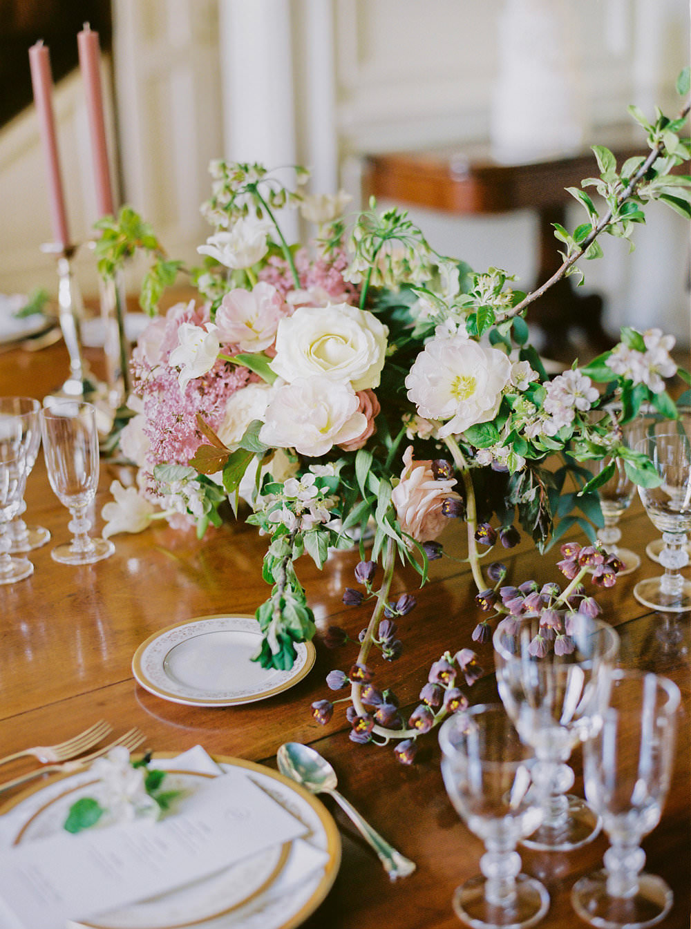 Table Setting 1930s Tableware Glasses Candlesticks Pink Flowers Floral Glamorous Vintage Eggington House Wedding Ideas David Jenkins Photography