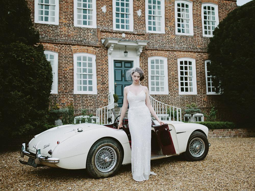Bride Bridal Beaded Dress Gown Birdcage Veil Hairpiece Glamorous Vintage Eggington House Wedding Ideas David Jenkins Photography