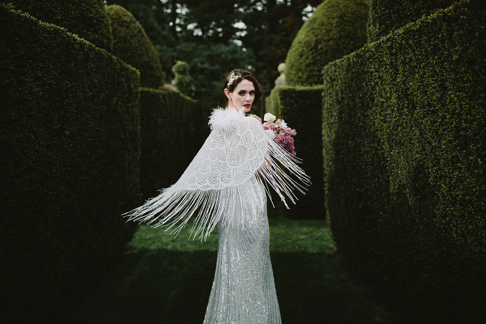 Bride Bridal Beaded Tassel Dress Gown Hairpiece Cape Pink Bouquet Glamorous Vintage Eggington House Wedding Ideas David Jenkins Photography
