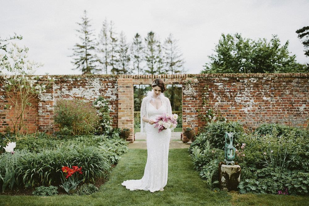 Bride Bridal Beaded Tassel Dress Gown Hairpiece Cape Pink White Bouquet Glamorous Vintage Eggington House Wedding Ideas David Jenkins Photography