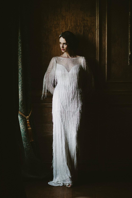 Bride Bridal Beaded Tassel Dress Gown Hairpiece Glamorous Vintage Eggington House Wedding Ideas David Jenkins Photography