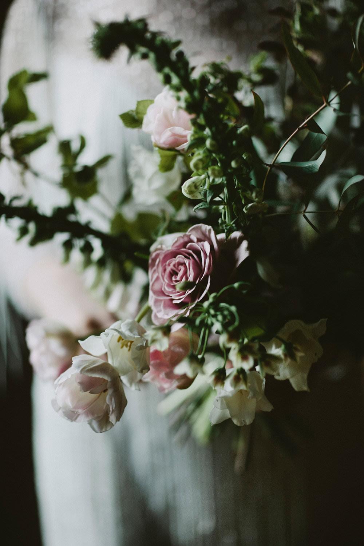 Pink White Rose Foxglove Florals Flower Foliage Glamorous Vintage Eggington House Wedding Ideas David Jenkins Photography