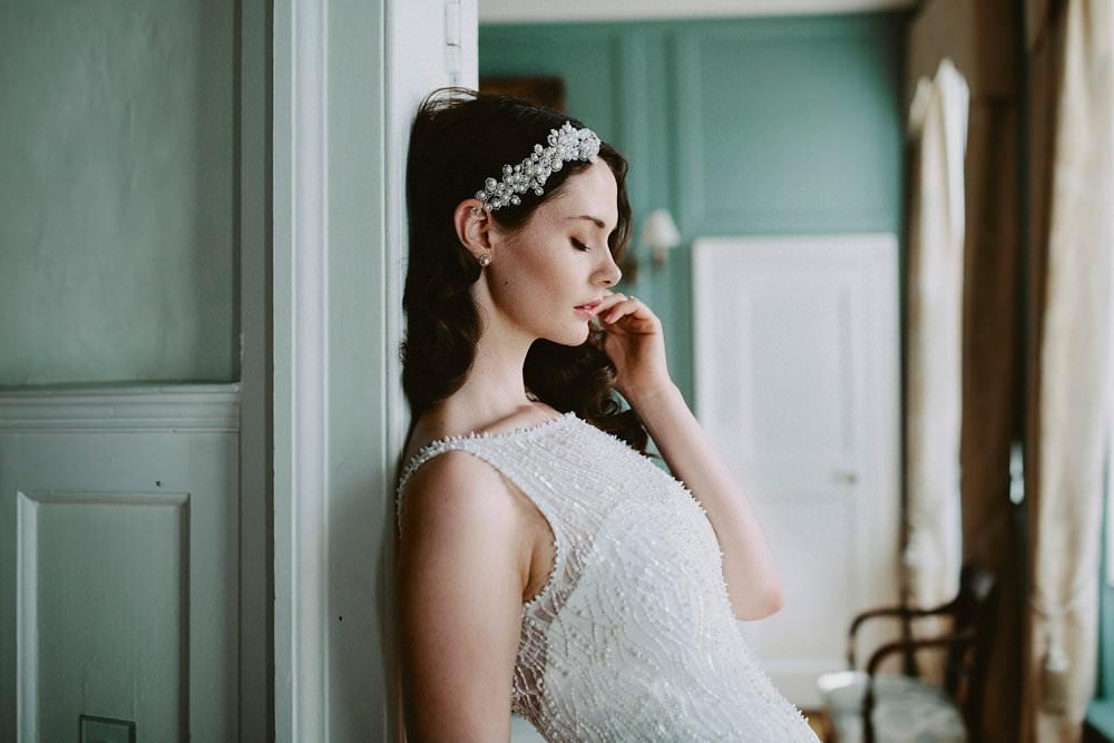 Bride Bridal Dress Gown Beaded 1930s Hairpiece Glamorous Vintage Eggington House Wedding Ideas David Jenkins Photography