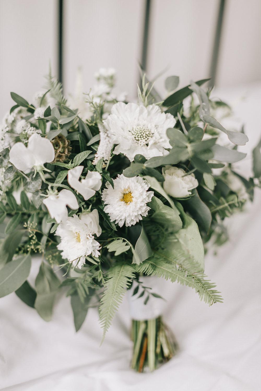 Bouquet Flowers Bride Bridal White Greenery Foliage Sweet Peas Fern Healey Barn Wedding Amy Lou Photography