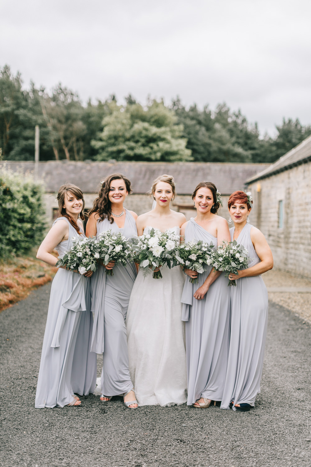 Pale Grey Lilac Multiway Long Bridesmaid Dresses Maxi Healey Barn Wedding Amy Lou Photography
