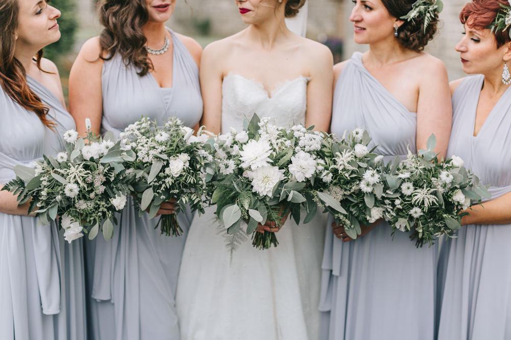 Bouquet Flowers Bride Bridal White Greenery Foliage Sweet Peas Fern Dahlia Bridesmaids Healey Barn Wedding Amy Lou Photography