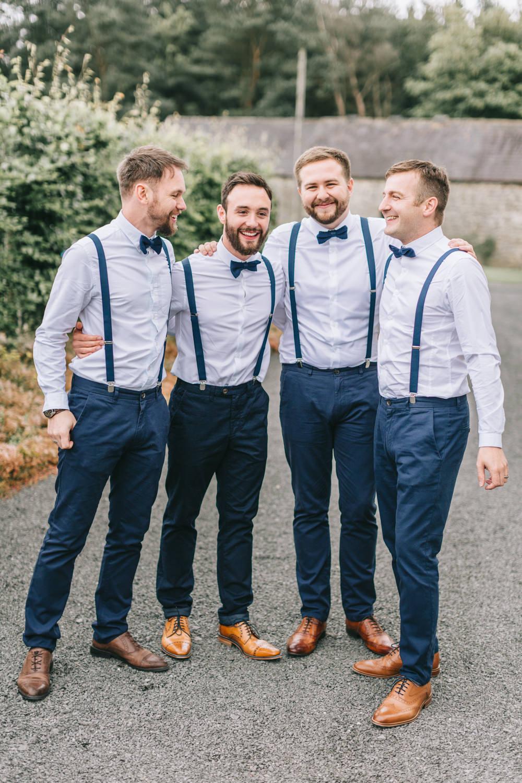 Groom Navy Blue Blazer Chinos Bow Tie Groomsmen Braces Healey Barn Wedding Amy Lou Photography