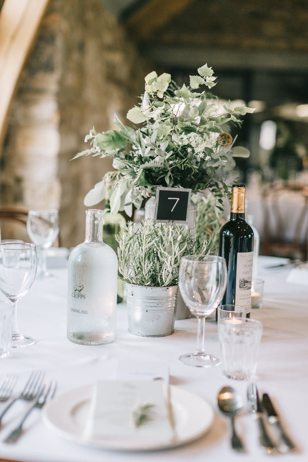 Table Centrepiece Flowers White Greenery Foliage Sweet Peas Fern Healey Barn Wedding Amy Lou Photography