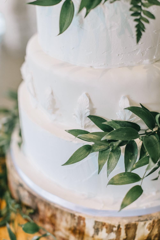 Rustic White Iced Cake Greenery Healey Barn Wedding Amy Lou Photography