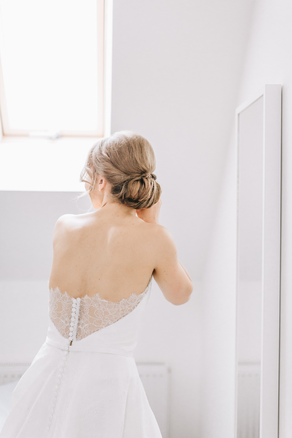 Bride Bridal Dress Gown Lace Strapless A Line Skirt Button Back Healey Barn Wedding Amy Lou Photography