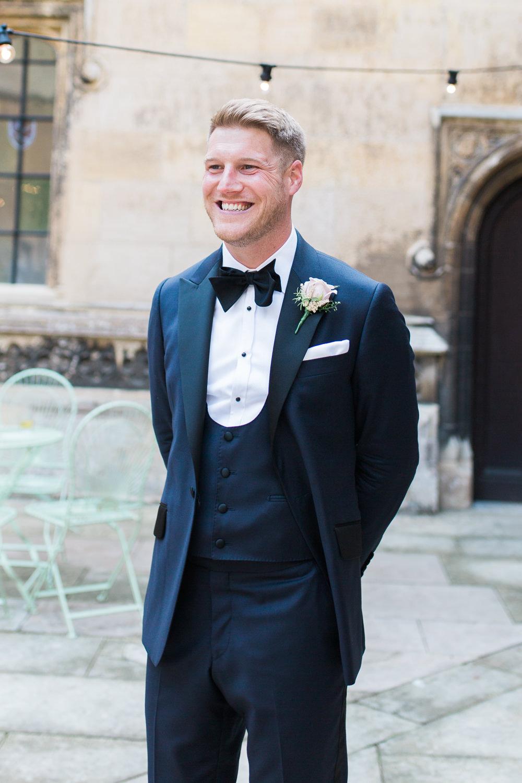 Tuxedo Groom Bib Waistcoat Pocket Square Hengrave Hall Wedding Gemma Giorgio Photography