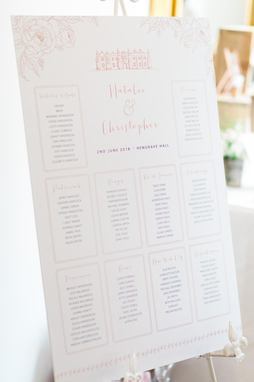 Table Plan Seating Chart Pink Blush Printed Modern Calligraphy Hengrave Hall Wedding Gemma Giorgio Photography