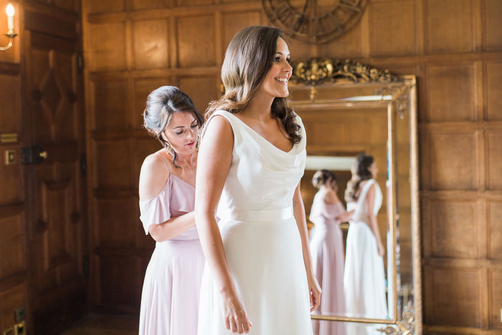 Bride Bridal Dress Gown Cowl Neck Train Hengrave Hall Wedding Gemma Giorgio Photography
