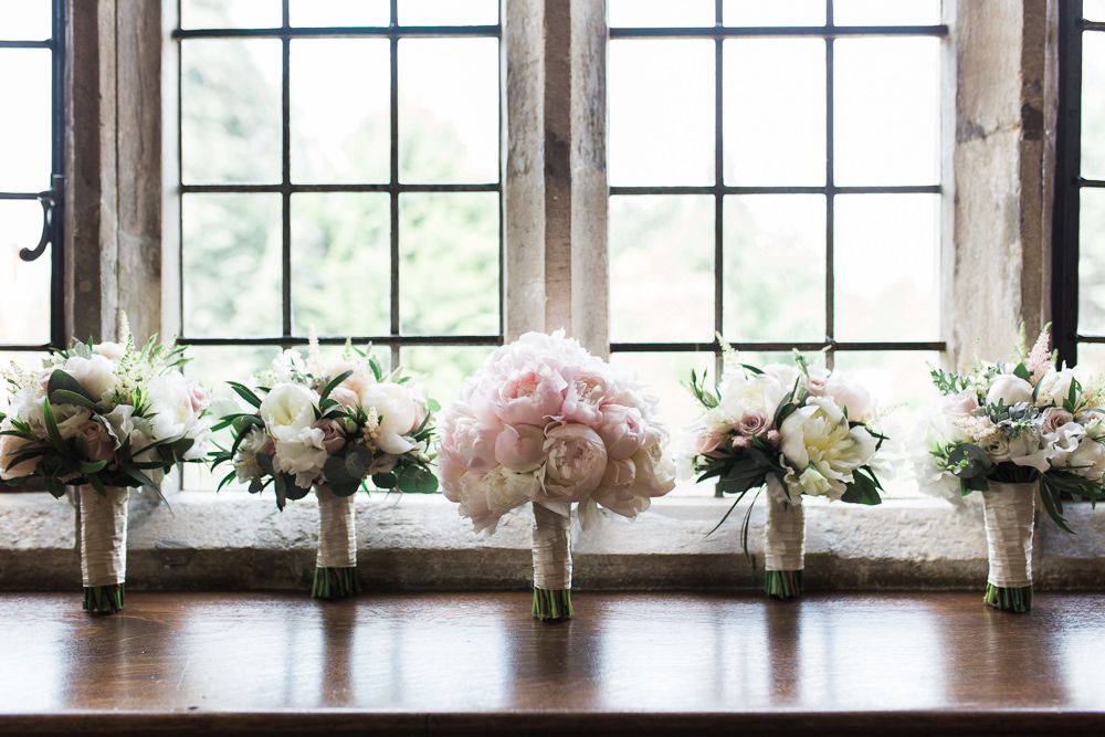 Bride Bridal Pink Blush Peony Tight Posy Bouquet Hengrave Hall Wedding Gemma Giorgio Photography