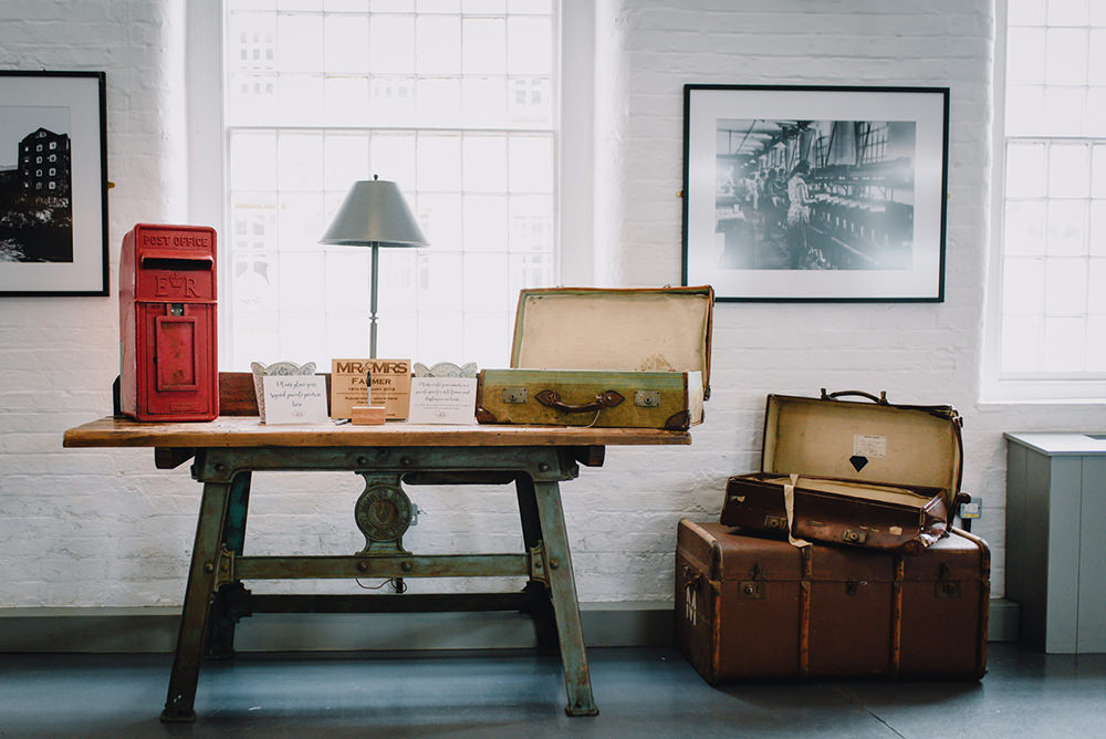 Vintage Suitcases Post Box Industrial Winter Wedding Reality Photography