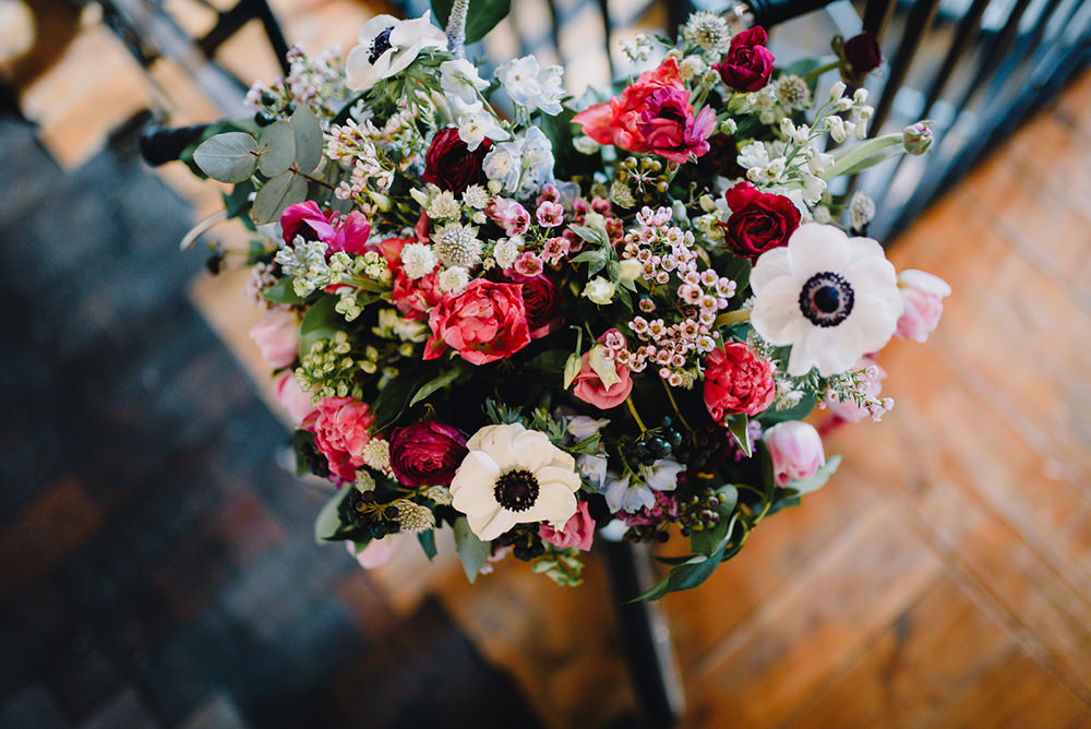 Bouquet Flowers Rose Wac Flowers Pink Red Anemone Bride Bridal Industrial Winter Wedding Reality Photography