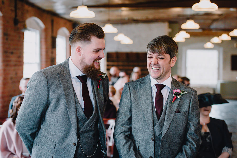 Groom Groomsmen Grey Tweed Suits Red Ties Industrial Winter Wedding Reality Photography