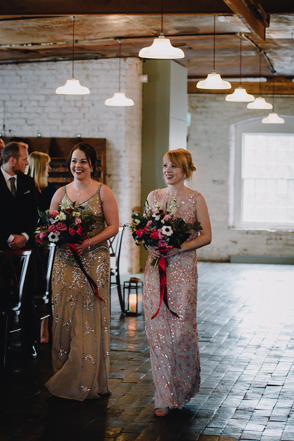 Mismatched Sequin Bridesmaid Dresses Industrial Winter Wedding Reality Photography