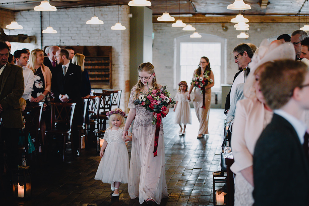 Flower Girls Bridesmaids Sequin Dresses Industrial Winter Wedding Reality Photography