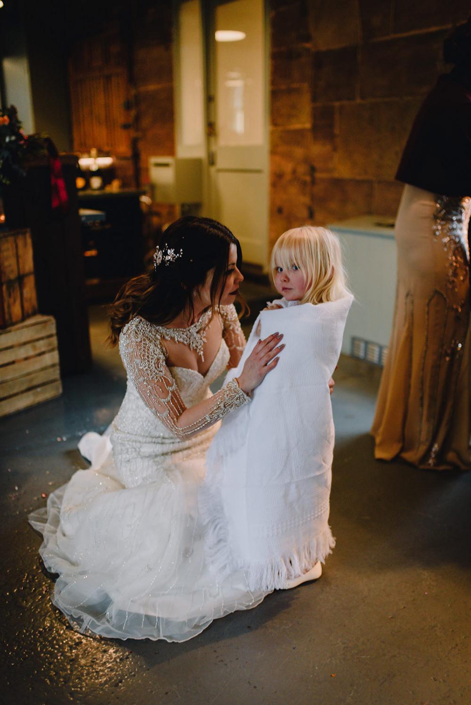 Justin Alexander Dress Bride Bridal Beaded Sleeves Flower Girl Blanket Industrial Winter Wedding Reality Photography