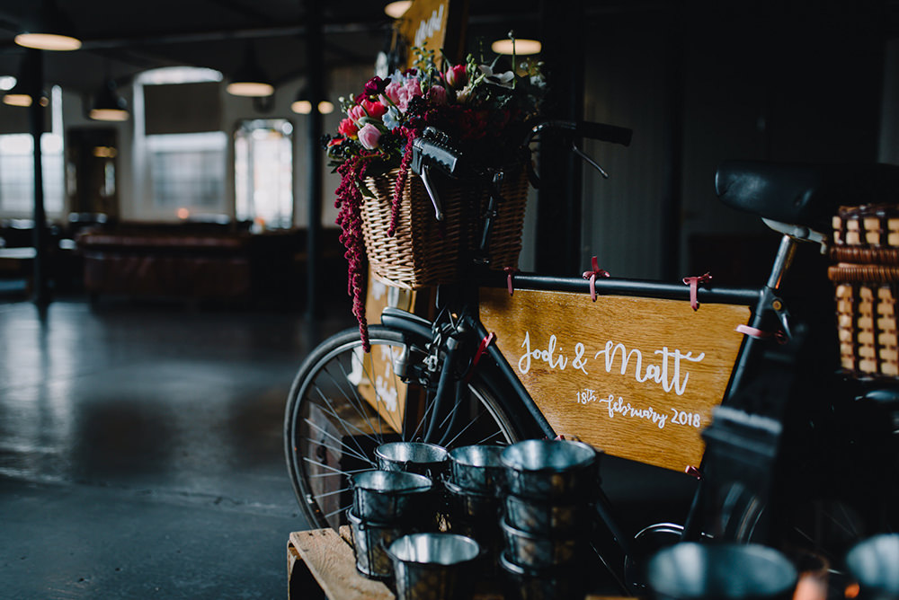 Bike Bicycle Flowers Basket Sign Welcome Industrial Winter Wedding Reality Photography