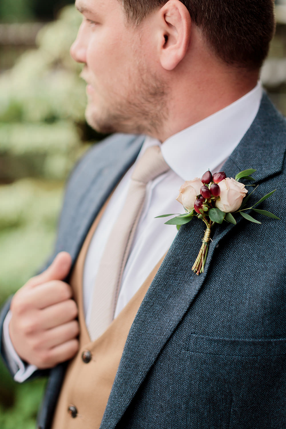 Groom Buttonhole Flowers Rose Berry Greenery Red Blush Marsala Gold Wedding Carn Patrick Photography