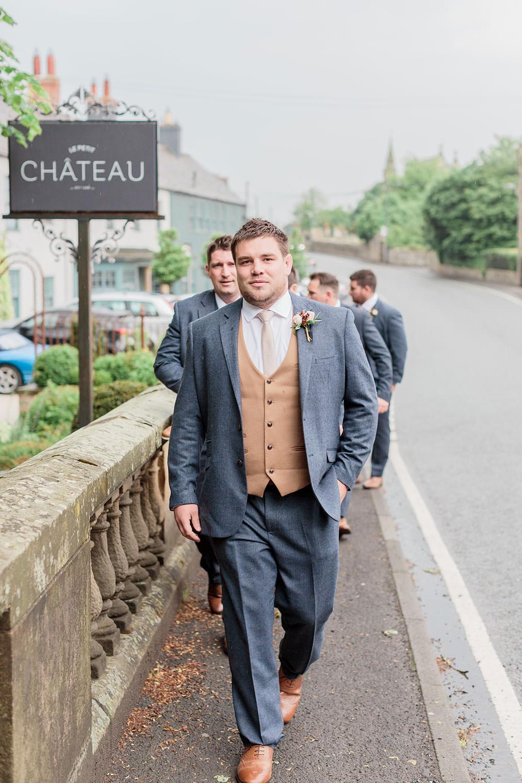 Groom Suit Grey Jacket Camel Waistcoat Marsala Gold Wedding Carn Patrick Photography