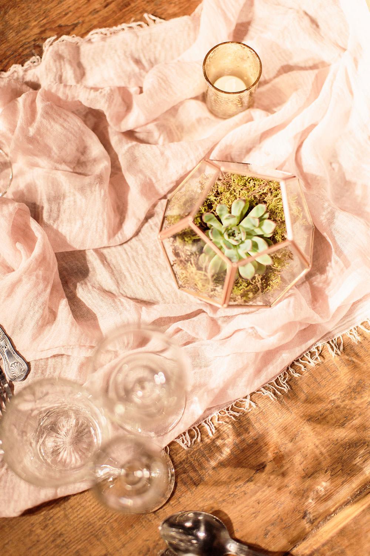 Silk Table Runner Cloth Succulents Marsala Gold Wedding Carn Patrick Photography
