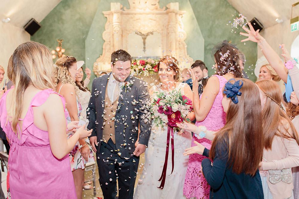 Confetti Throw Aisle Marsala Gold Wedding Carn Patrick Photography