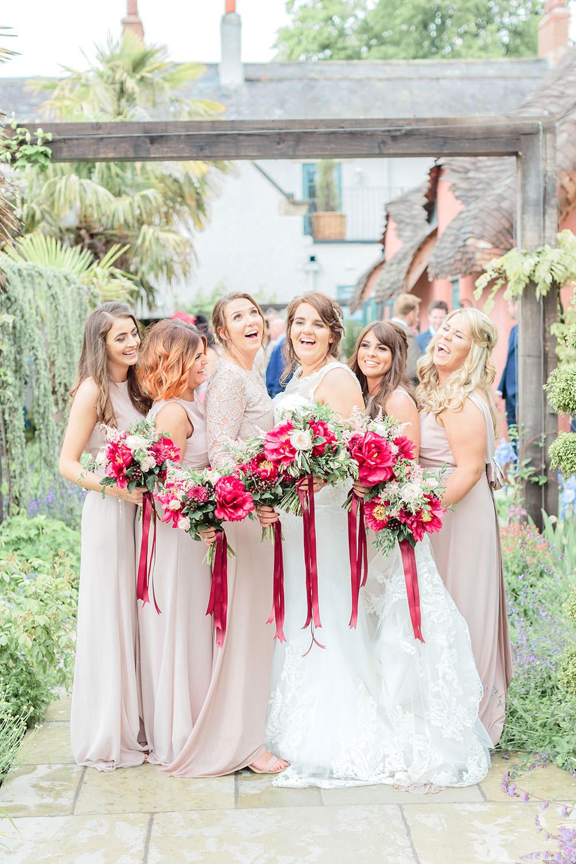 Blush Dress Bridesmaids Long Maxi Bouquets Flowers Marsala Gold Wedding Carn Patrick Photography