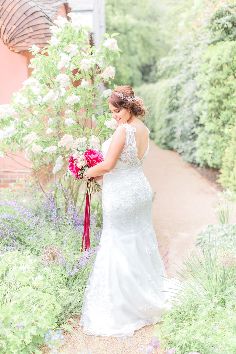 Lace Dress Gown Bride Bridal Sweetheart Train Belt Fit Flare Marsala Gold Wedding Carn Patrick Photography