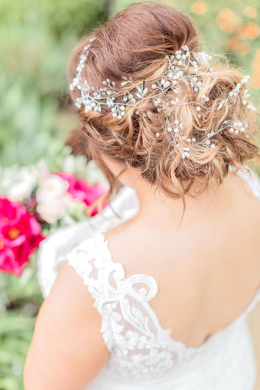 Hair Bride Bridal Style Updo Rustic Vine Pretty Marsala Gold Wedding Carn Patrick Photography