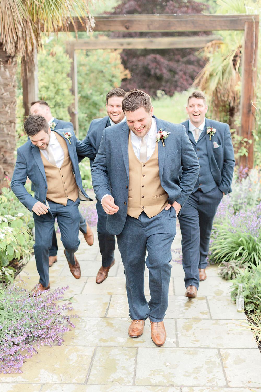 Groom Groomsmen Blue Grey Suits Camel Waistcoats Tan Shoes Marsala Gold Wedding Carn Patrick Photography