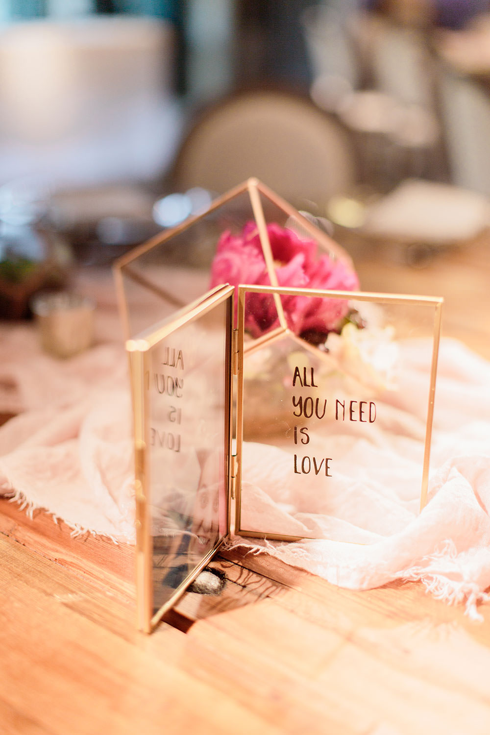 Glass Perspex Acrylic Sign Frame Marsala Gold Wedding Carn Patrick Photography