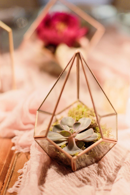 Terrarium Succulent Table Centrepiece Decor Marsala Gold Wedding Carn Patrick Photography