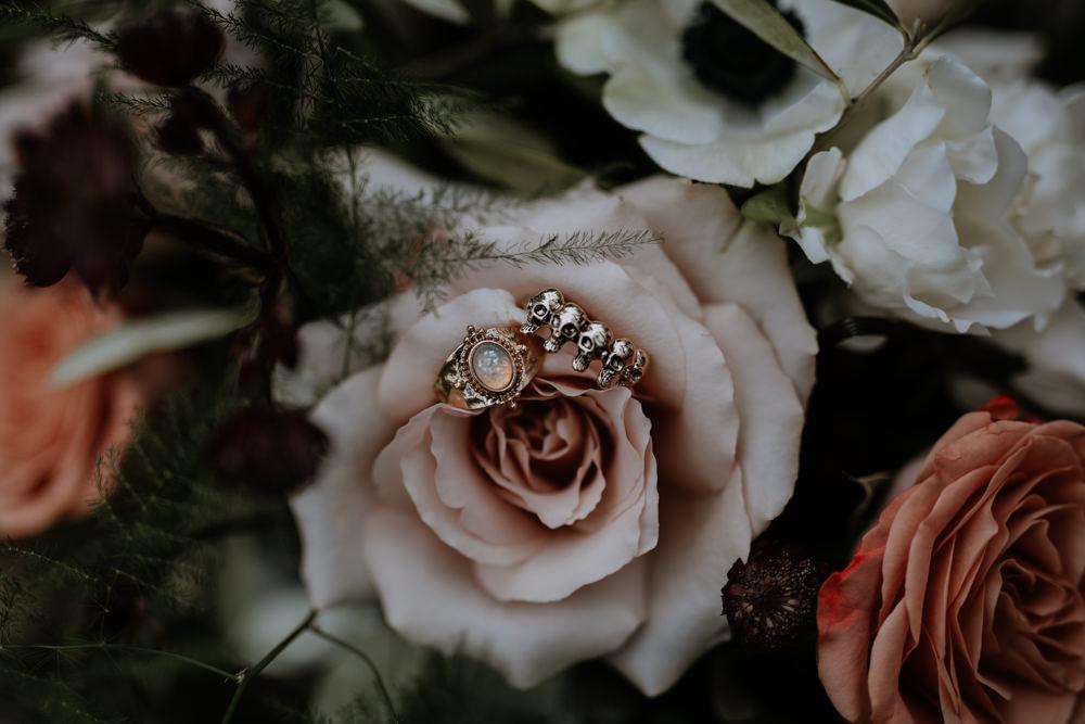 Alternative Rings Enagement Bands Skulls Modern Gothic Woods Wedding Ideas Ayelle Photography
