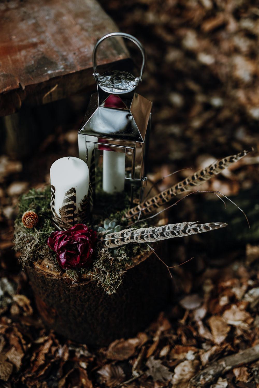Log Tree Stump Decor Candles Feather Succulent Lantern Modern Gothic Woods Wedding Ideas Ayelle Photography