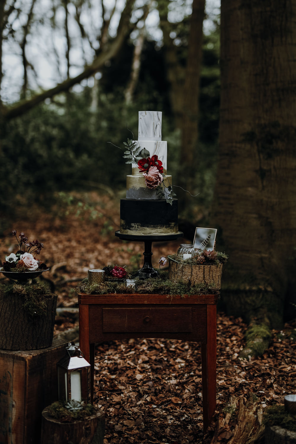 Cake Table Furniture Decor Moss Logs Flowers Candle Modern Gothic Woods Wedding Ideas Ayelle Photography