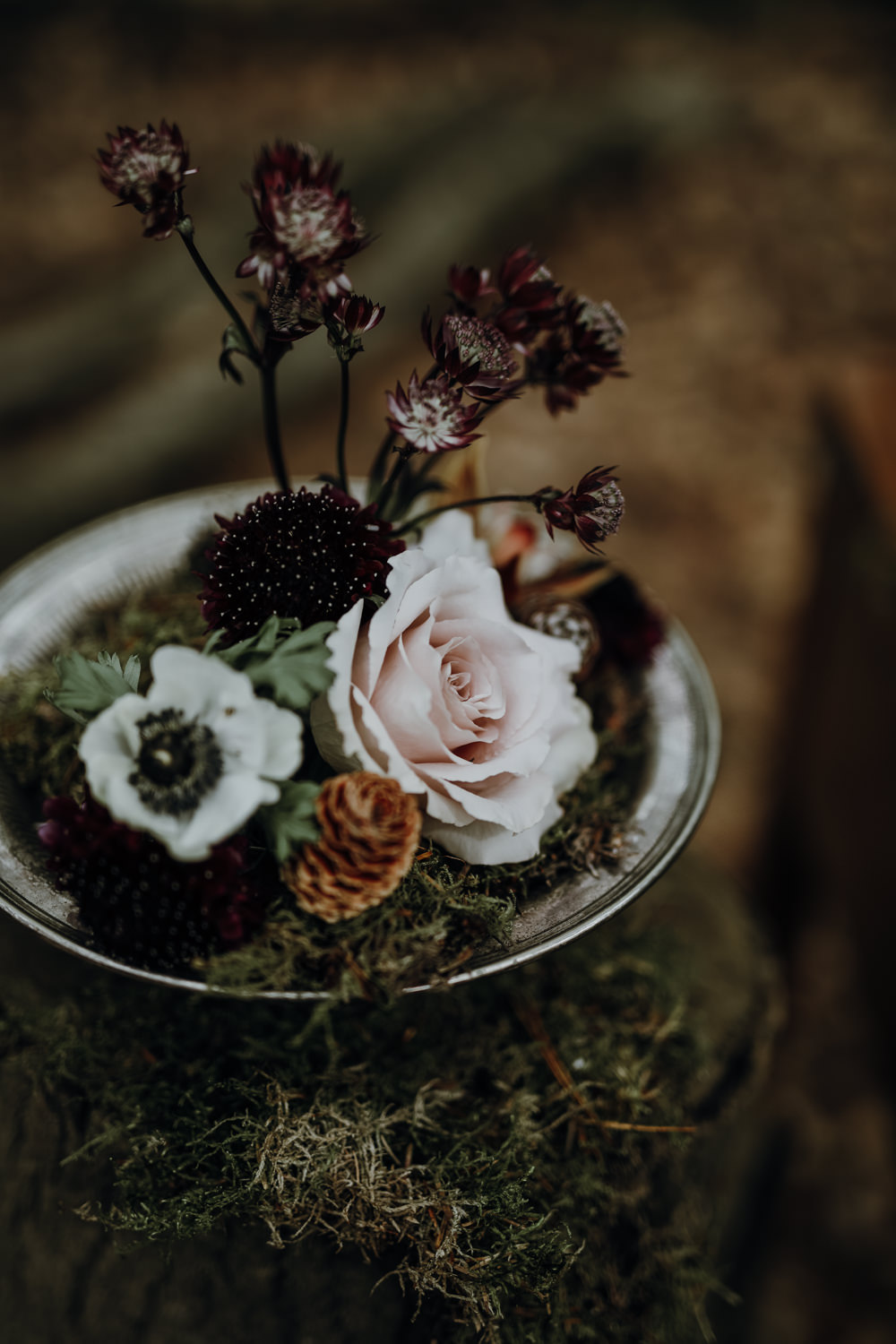 Flowers Silver Tray Moss Modern Gothic Woods Wedding Ideas Ayelle Photography