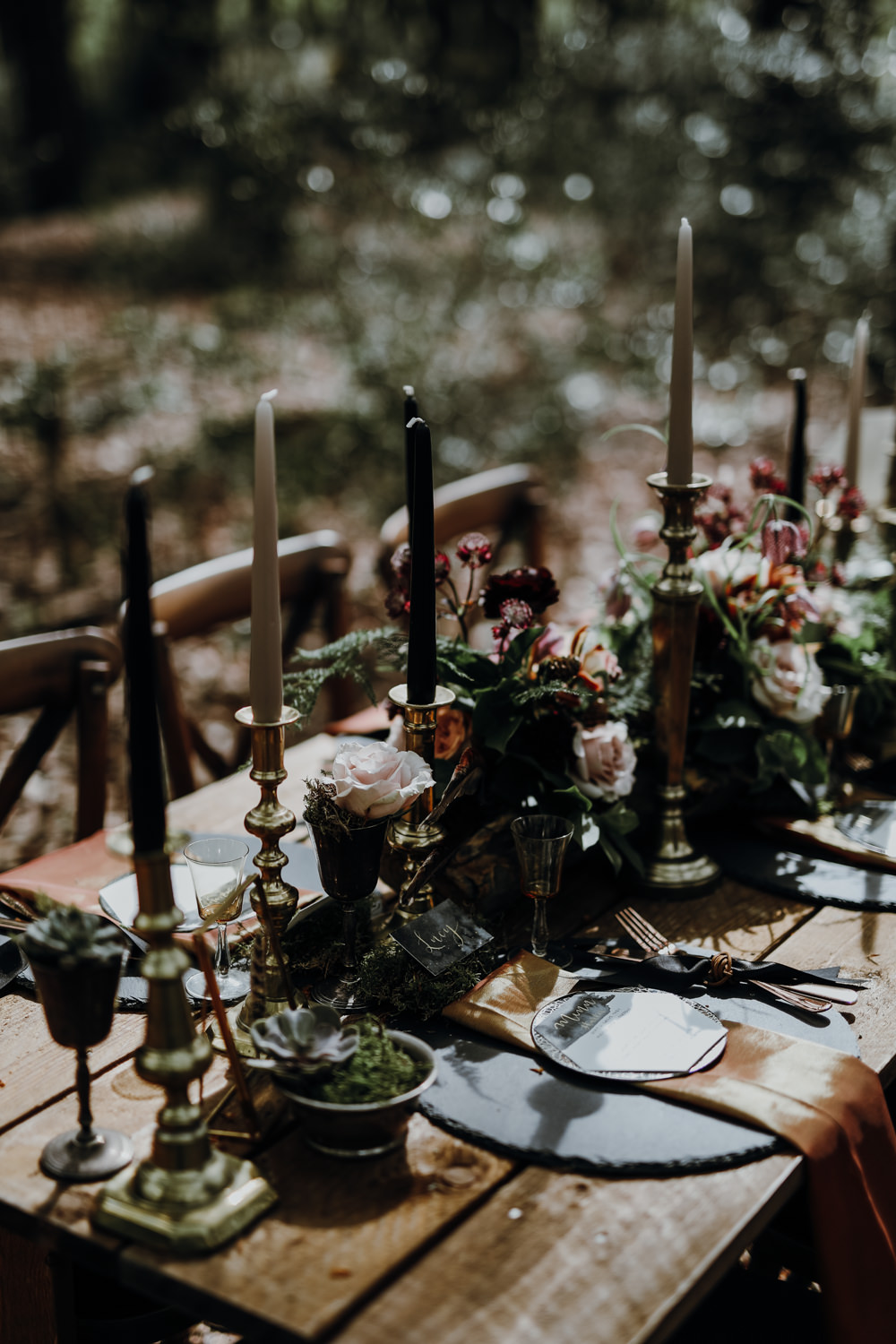 Table Tablescape Decor Black Gold Candles Flowers Modern Gothic Woods Wedding Ideas Ayelle Photography