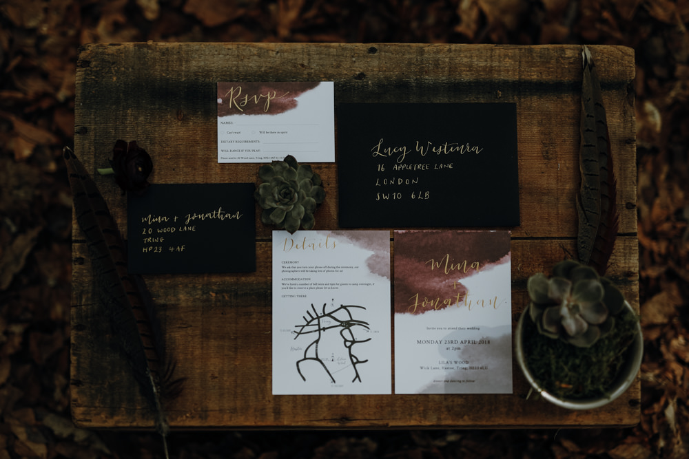 Stationery Invites Invitations Gold Black Red Calligraphy Modern Gothic Woods Wedding Ideas Ayelle Photography