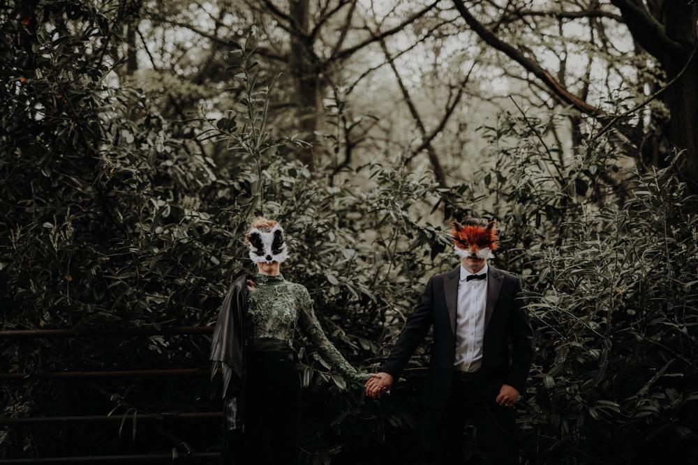 Masks Animal Bride Groom Modern Gothic Woods Wedding Ideas Ayelle Photography