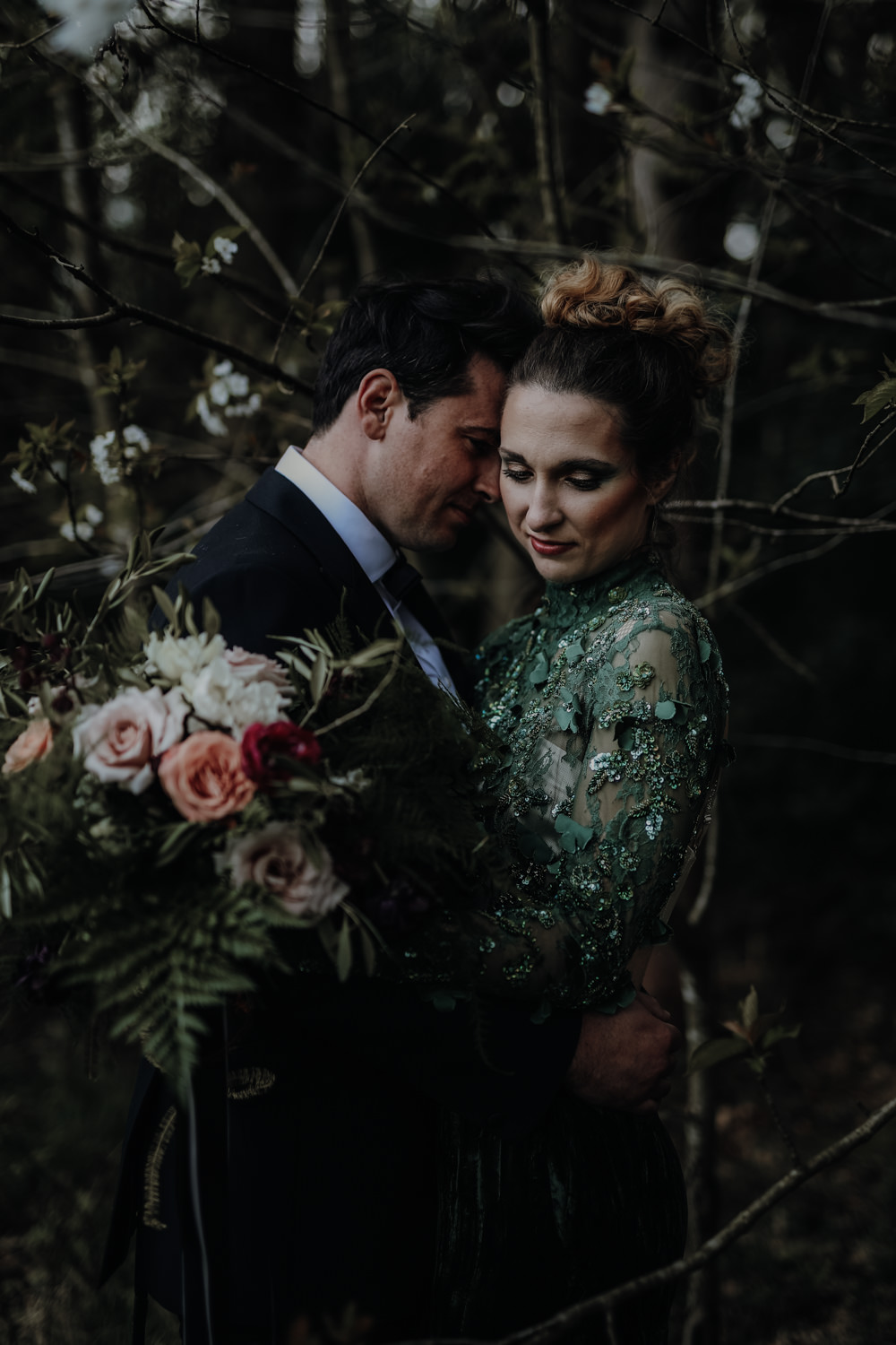 Bride Bridal Dress Gown Emerald Green Leather Jacket Modern Gothic Woods Wedding Ideas Ayelle Photography