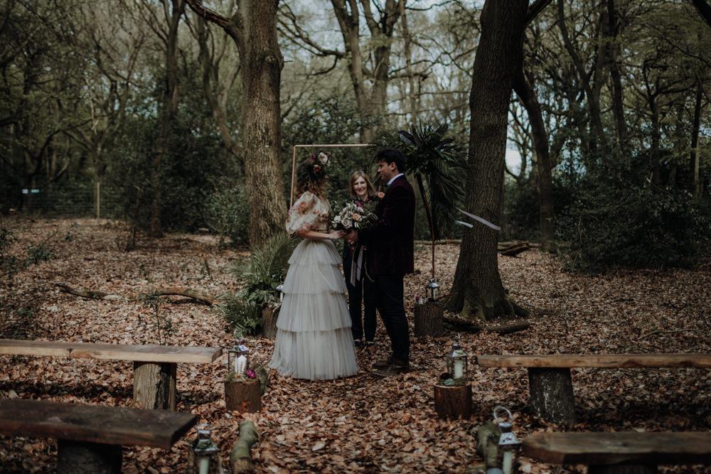 Outdoor Woodland Forrest Ceremony Modern Gothic Woods Wedding Ideas Ayelle Photography