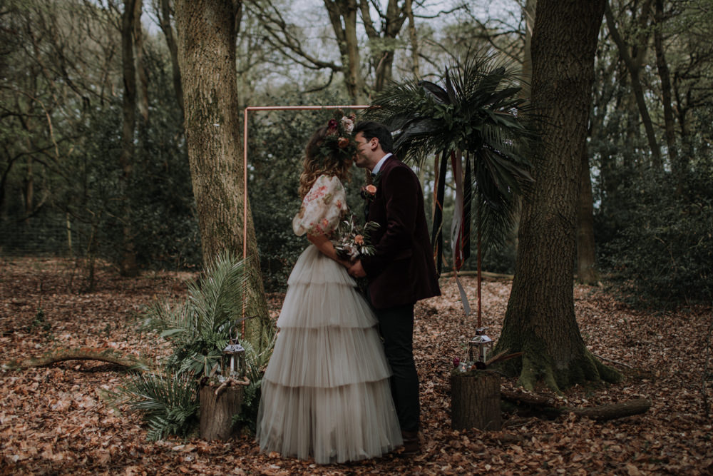 Backdrop Copper Pipe Flowers Greenery Foliage Ribbons Frame Modern Gothic Woods Wedding Ideas Ayelle Photography