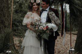 Backdrop Copper Pipe Flowers Greenery Foliage Ribbons Frame Modern Gothic Woods Wedding Ideas Ayelle Photography