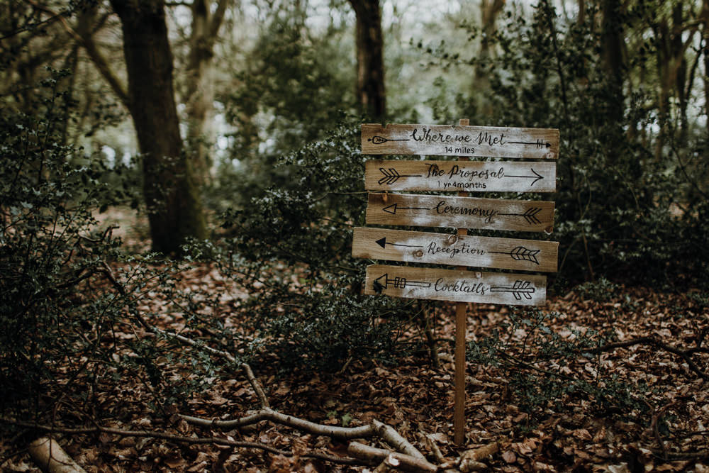 Wooden Sign Post Painted Rustic Modern Gothic Woods Wedding Ideas Ayelle Photography