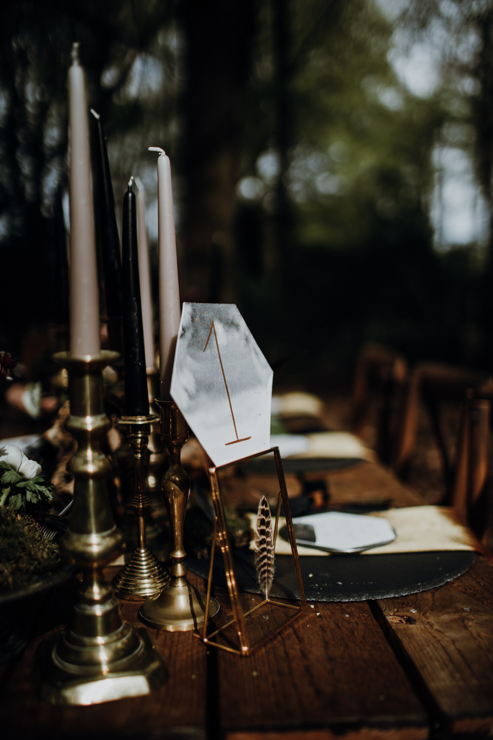 Marble Gold Table Number Name Modern Gothic Woods Wedding Ideas Ayelle Photography
